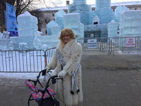 Phyllis Chickett Klondike Kateof 1996 visited the St. Paul Winter Carnival ice palace on an outing with Lilydale Senior Living.