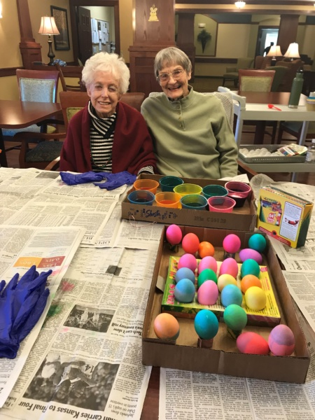 Coloring Easter eggs at Lilydale Senior Living!