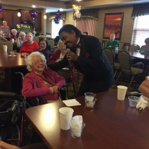 Birthday Party-Lilydale Senior Living-Monroe Wright singing to the tenants