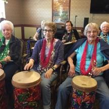 Drumming-Lilydale Senior Living-Hawaiian leis