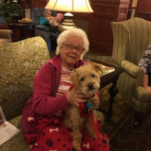 Pet Therapy-Lilydale Senior Living-Posing with the dog